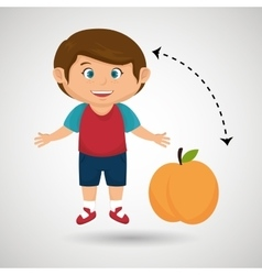 cartoon boy peach fruit vector image