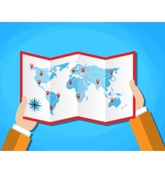Cartoon hands hold folded paper map of world with vector