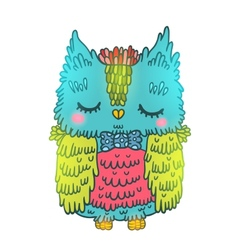 Cute cartoon owl animal vector