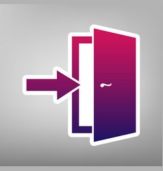 Door exit sign purple gradient icon on vector
