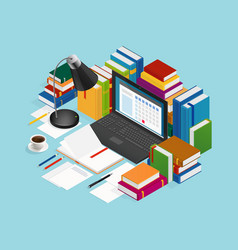 Educational books isometric vector