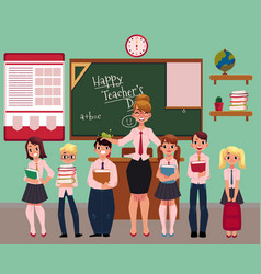 female teacher standing with students in classroom vector image vector image