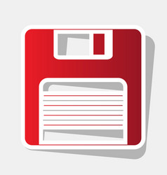 floppy disk sign new year reddish icon vector image