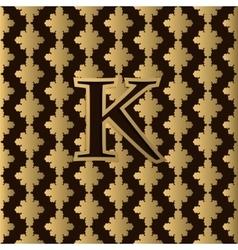 Golden letter k on golden pattern logo vector