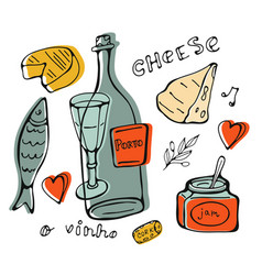 hand drawn wine collection vector image vector image