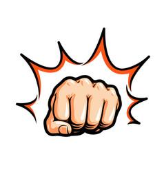hand fist punching or hitting comic pop art vector image