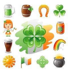 Happy saint patrick day icon set flat icons vector