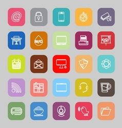 Internet cafe line flat icons vector