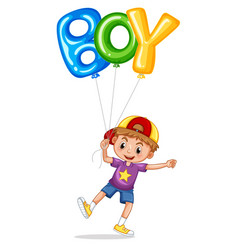 little boy with balloon for word boy vector image