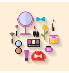 Makeup Cosmetic and Beauty flat Icons vector image