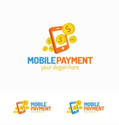 mobile payment logo set with phone and money vector image vector image