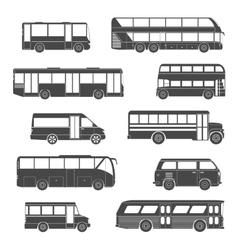 Passenger bus icons black vector