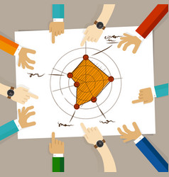 Radar chart performance strong aspects hand vector