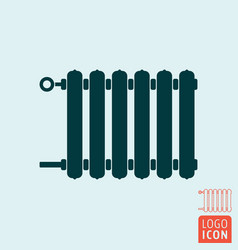 Radiator icon heating radiator with adjuster of vector