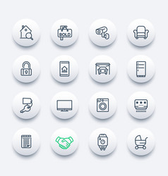 Real estate line icons set vector