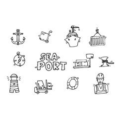Sea port black icons set vector
