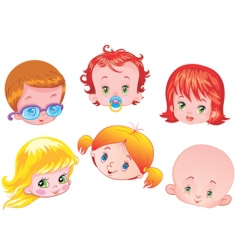 set of children's faces vector image vector image