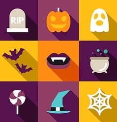 Set of flat design halloween grave ghost pumpkin vector