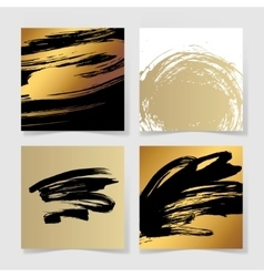set of four black and gold ink brushes grunge vector image vector image