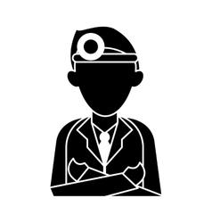 Silhouette doctor crossed arms wearing head mirror vector
