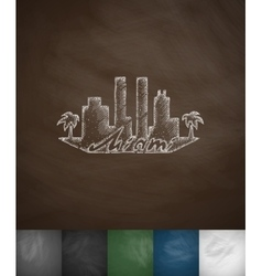 silhouette Miami icon Hand drawn vector image
