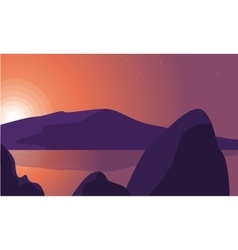 Silhouette of rock and lake landscape vector