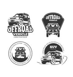 Suv pickup retro emblems logos badges and vector