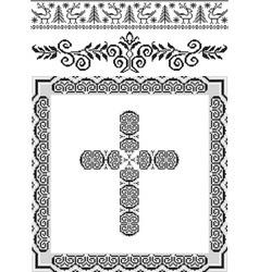 Vintage frame cross vector image vector image