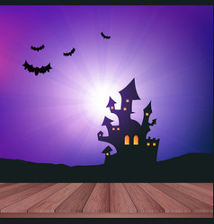 Wooden table looking out to a halloween landscape vector