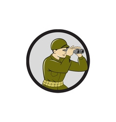 World war two american soldier binoculars circle vector