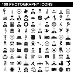 100 photography icons set simple style vector image vector image