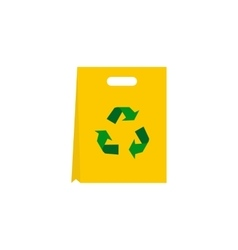 Recyclable plastic bag icon flat style vector