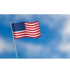 United states of america flag on blue sky vector