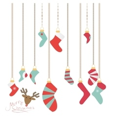 Christmas socks hanging on a magic thread new vector