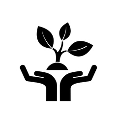 Hands human with ecology icon vector