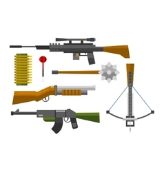 Weapons collection icons vector