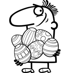 Man with easter eggs cartoon vector
