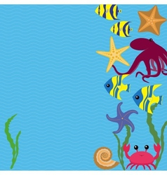 Card with sea animals vector