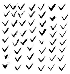 set of hand drawn paint ink check marks grunge vector image