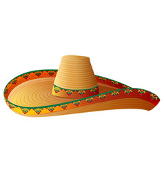 Sombrero mexican straw hat with wide margins vector