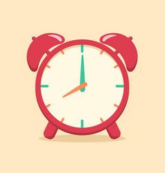 red analog alarm clock school supplies vector image