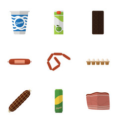 Flat icon meal set of confection bratwurst vector