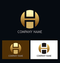 letter h round gold logo vector image