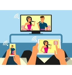 Multiscreen interaction Man and woman are vector image
