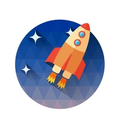 A rocket in space icons in flat style - start vector
