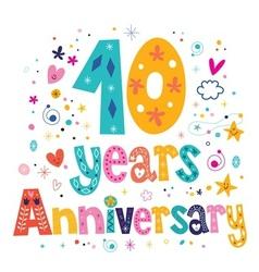 Ten years anniversary celebration decorative vector