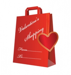 Valentine shopping bag vector