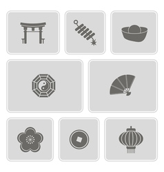 Monochrome with chinese new year icons vector