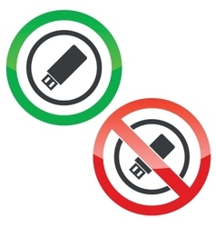 USB stick permission signs vector image