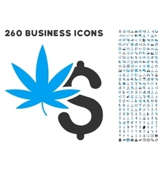 Marijuana business icon with flat set vector